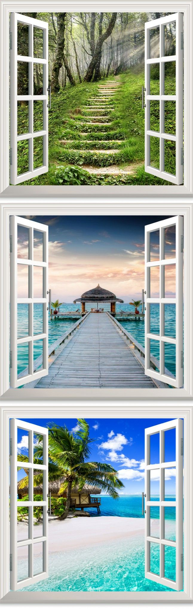 Fake Window Wall Stickers Romantic Bedroom Bedside Wall Stickers Creative Home Living Room Background Wallpaper Room Decoration $22.99