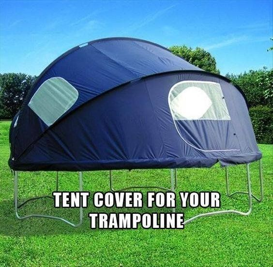 Tent cover for your trampoline! Enjoy the sunshine! xx #camping #saturdaymorning