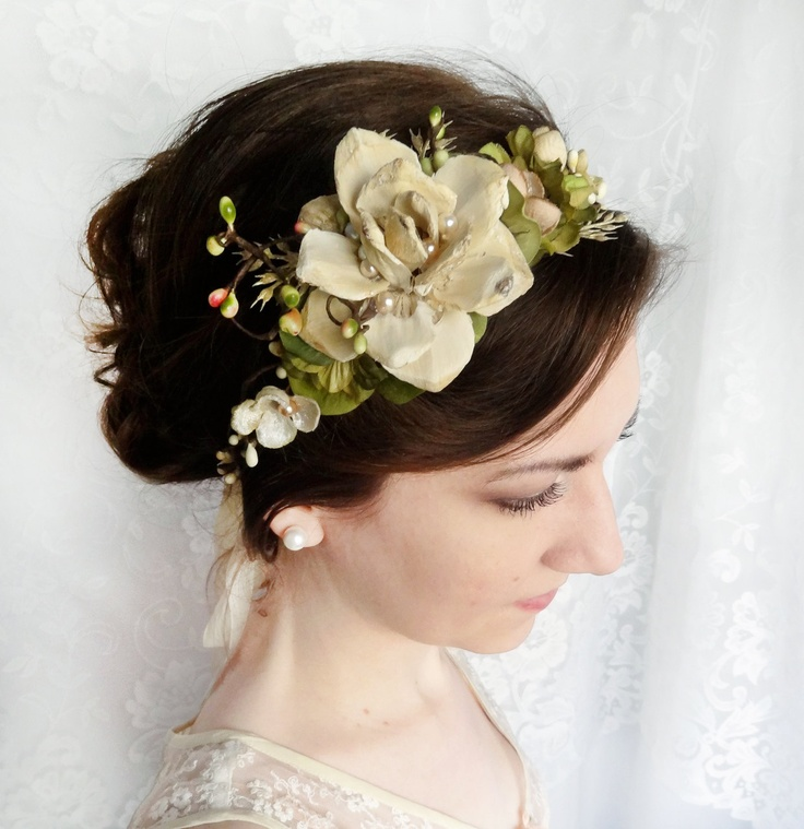 Wedding Flower Headpieces: Woodland Wedding Headpiece, Cream Flower, Champagne