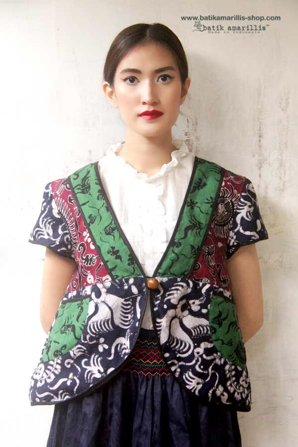 Batik Amarillis's Garden Vest ..sunshine & cheerful in this super cute vest with patchwork of hand drawn batik gedog Tuban,pockets,wooden button plus our signature Arcana in the back