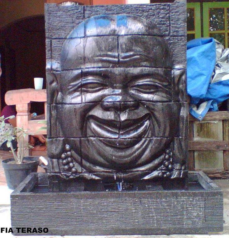 Brunnen Stein Budha Relief Wasserspiel Garten Deko