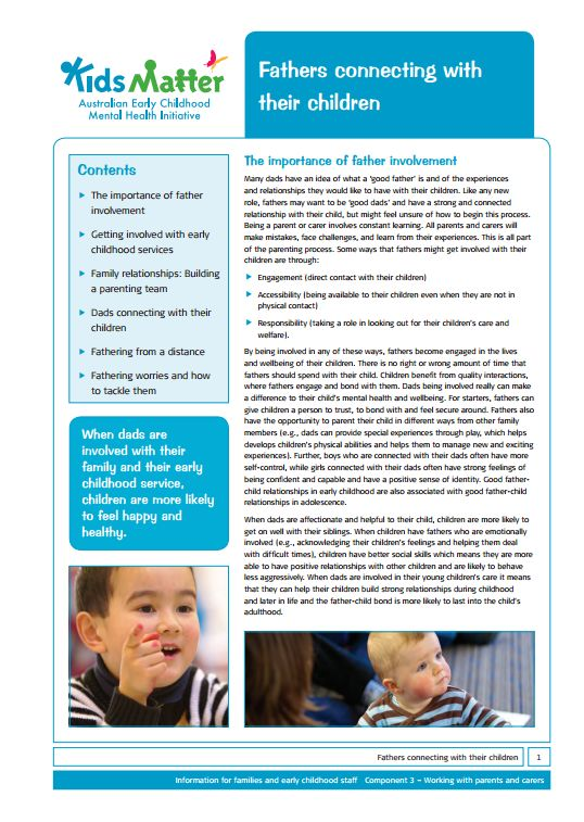 Partnerships with families...Top Tips: Fathers connecting with their children. Information sheets for…