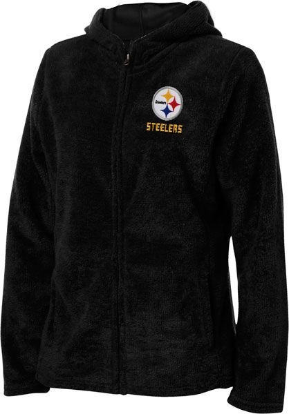 Pittsburgh Steelers Black Women's Breakout Play IV Full-Zip Plush Hooded Fleece | Plus Size NFL Merchandise | OneStopPlus