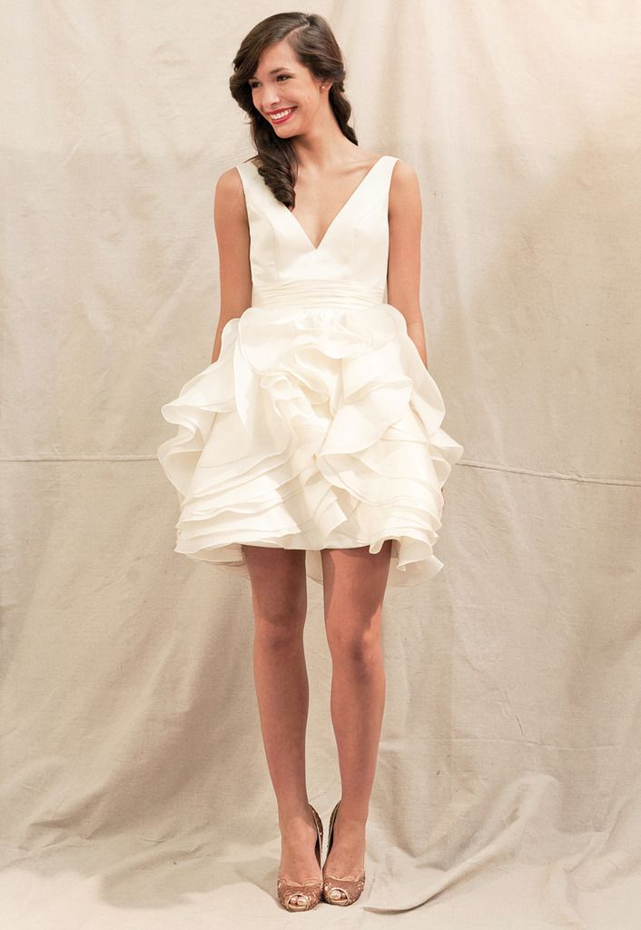 white ruffles.: Party Dresses, Shorts Weddings Dresses, Wedding Dresses, Receptions Dresses, Dinners Dresses, Shorts Dresses, Weddings Dresss, Rehear Dinners, Bridal Showers