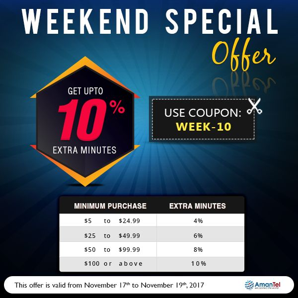 Welcome to Special Weekend offer with Amantel wonderful deals to all international call. Get Upto 10% Extra Minutes. keep talking, do not break the weekend fun. No hidden fees and no taxes!!!  Coupon Code: WEEk-10  #InternationalCalling #AmantelCouponCode #SpecialWeekEndOffers