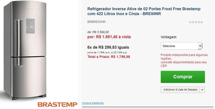 Geladeira Brastemp Inverse Frost Free Inox BRE50NR 422 Litros << R$ 169146 >>