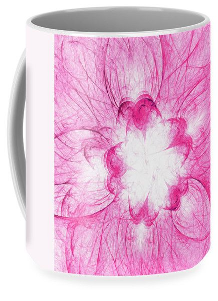 Mariia Kalinichenko Coffee Mug featuring the digital art Pink Flower by Mariia Kalinichenko #MariiaKalinichenkoFineArtPhotography #HomeDecor #PinkFlower #CoggeMug #Fractal