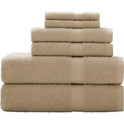 Vallejo Tan Solid Color Towel Set 27 X 52 Bath Towels Light Brown Border Stripes Soft Cozy Absorbent Long Lasting Modern Stylish Gorgeous Elegant Towels Cotton