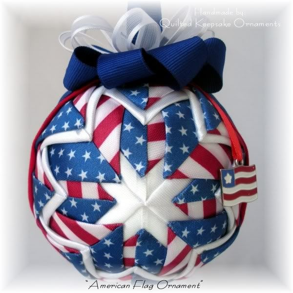 """Quilted """"American Flag"""" Red, White & Blue Ornament"""