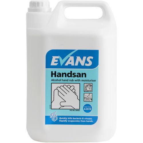 Evans Vanodine Handsan 70% Alcohol Hand Sanitiser With Moisturiser 5Ltr