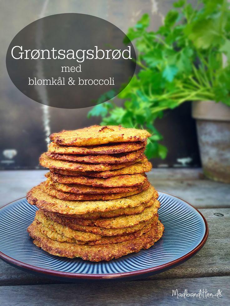 Grøntsagsfladbrød med blomkål og broccoli - Kan bruges til alting! Sandwich, burgerbolle, hotdogbrød eller som bund i en minipizza. Glutenfri, helt naturlig og LCHF. --> Madbanditten.dk