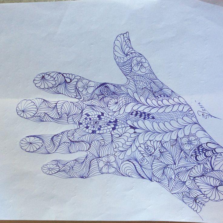 Tegning med kuglepen, på tyndt papir, hvor tegning går igen fra bagside. Lidt øv.