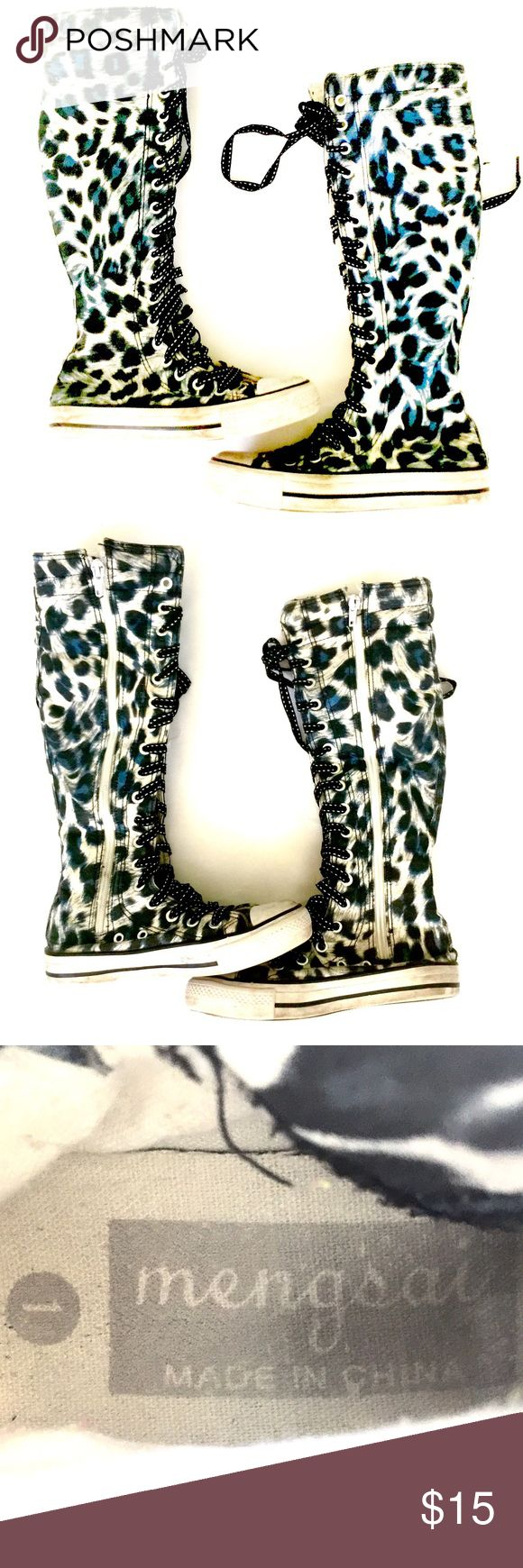 Mengsai Leopard Sneaker Boot Hi-Tops size 1 These leopard sneaker boots tie up AND zip up. The are rock star quality and feature blue accents. Mengsai Shoes Boots