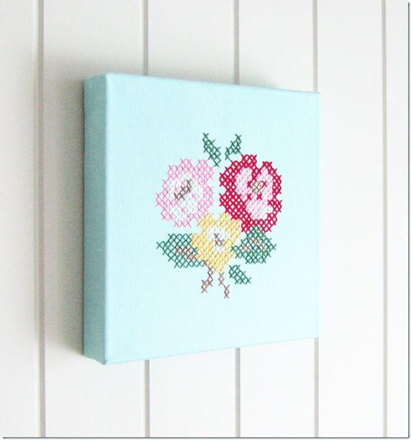 cross stitch wall art by solstrikke blog Handmade Rose Cross Stitch Canvas