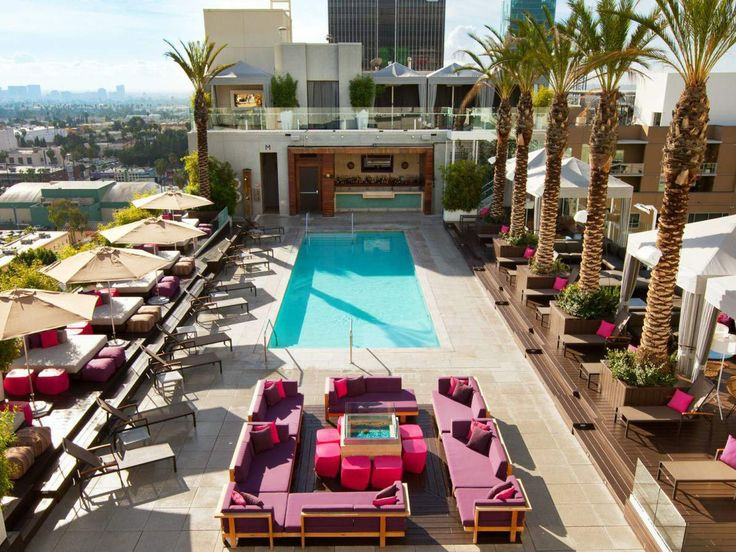 Take advantage LA's famously sunny weather and chill poolside on a glitzy rooftop or under a shady cabana.