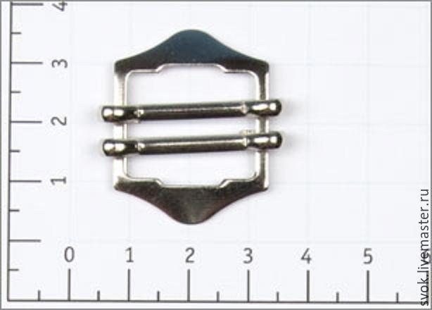 Купить Пряжка регулирующая, двойная, металл 18мм цв никель для жилета - серебряный, никель
