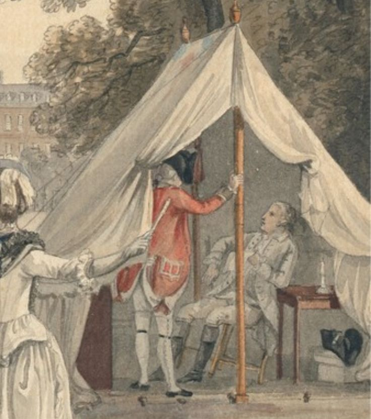 18th century illustration detail of a  British Officers tent