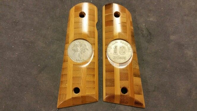 Bamboo 1911 Grips With Vietnam Coins Inlays These Were