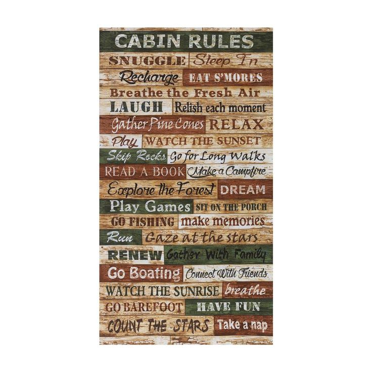 """Timeless Treasures Cabin Rules 24'"""" Panel Multi from @fabricdotcom  From Timeless Treasures, this cotton print collection is perfect for quilting, apparel, and home decor accents. Colors include shades of brown, beige, tan, and green. Panel measures 24""""x 44""""."""