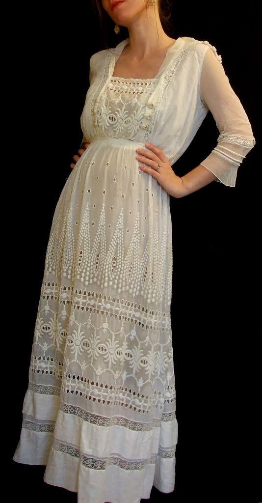 Edwardian Tea Gowns | Details about Antique Edwardian Embroidered Tea Garden Wedding Dress