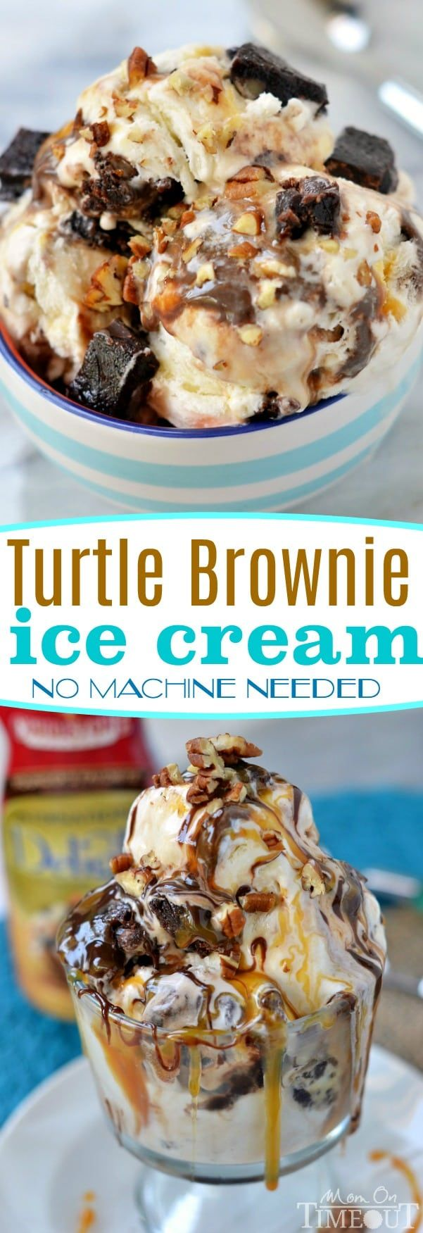 Satisfy those chocolate cravings and beat the heat with this totally decadent Turtle Brownie Ice Cream - no machine needed! // Mom On Timeout