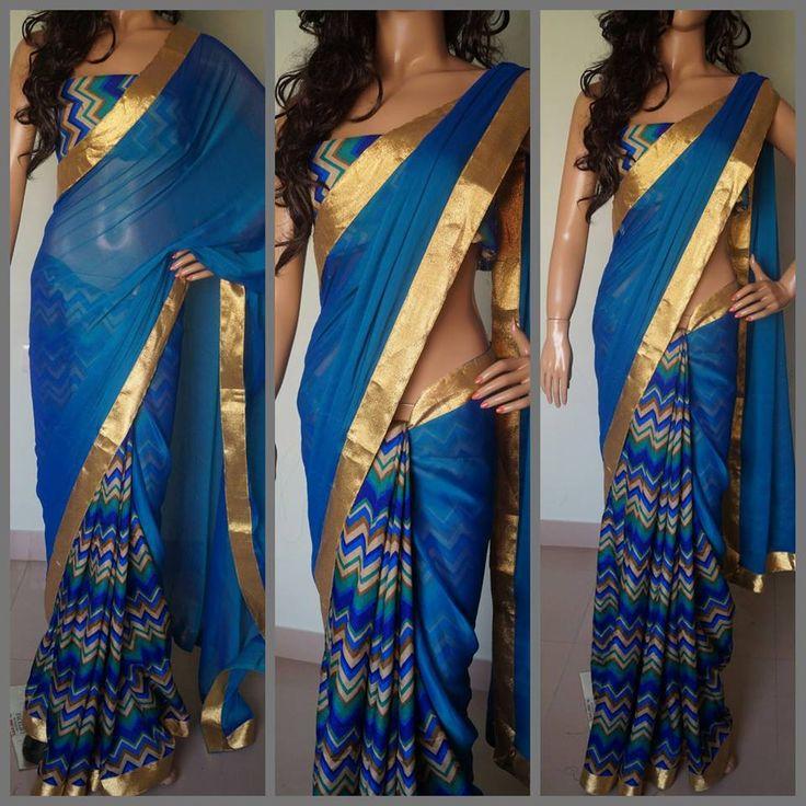 Chiffon Saree with Zigzag pattern pleats finished with gold Zari borders