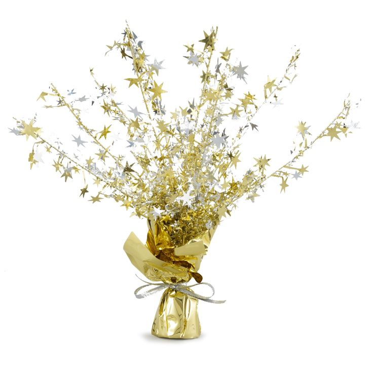 Gold and Silver Stars Foil Spray Centerpiece, 24954