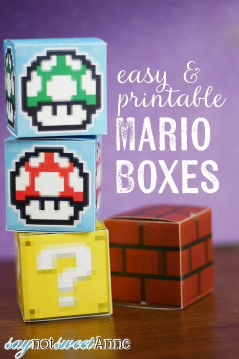 Easy & printable Mario Boxes | Say Not Sweet Anne --- Free printable paper boxes for Super Mario Brothers mushrooms, bricks, and question boxes! These would make cute gift boxes or hold little surprises.