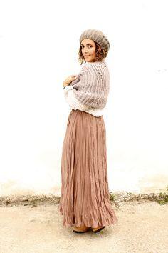 wool hat, wool shawl, maxi skirt, pleated skirt, fall outfit, fall maxi skirt, fall pleated skirt, gonna lunga autunno, come vestirsi in autunno, collaborazione bonprix