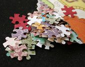 puzzle piece punch papercut pack (60+ pieces)