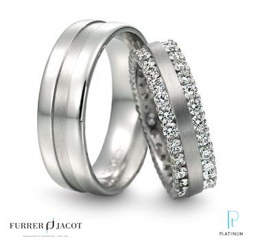Furrer Jacot Platinum And Diamond Wedding Band Matching Mens