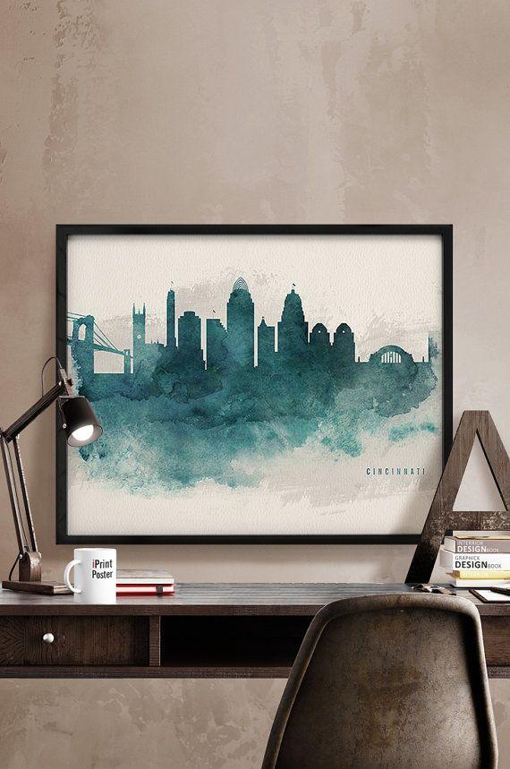 Cincinnati print Cincinnati skyline watercolor by iPrintPoster