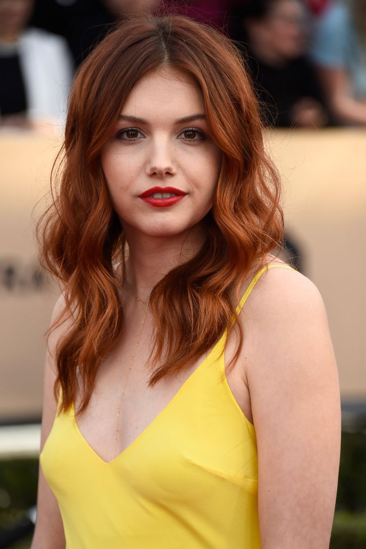 Hannah Murray, agressive red lips and hair, dramatic - not her