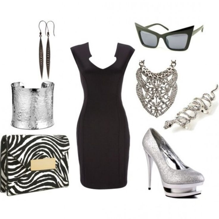 #HowTo #Accessorize a #LBD #Outfit #collage #SocialblissStyle #zebra #black #dress #silver #shoe #heel #pump #jewelry #purse #bag