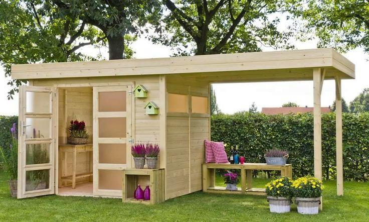 Tuinhuisje / blokhut model Vera 200 met overkapping 250 met afmetingen 255 x 198 cm van Outdoor Life Products #tuinhuisje #blokhut #vera