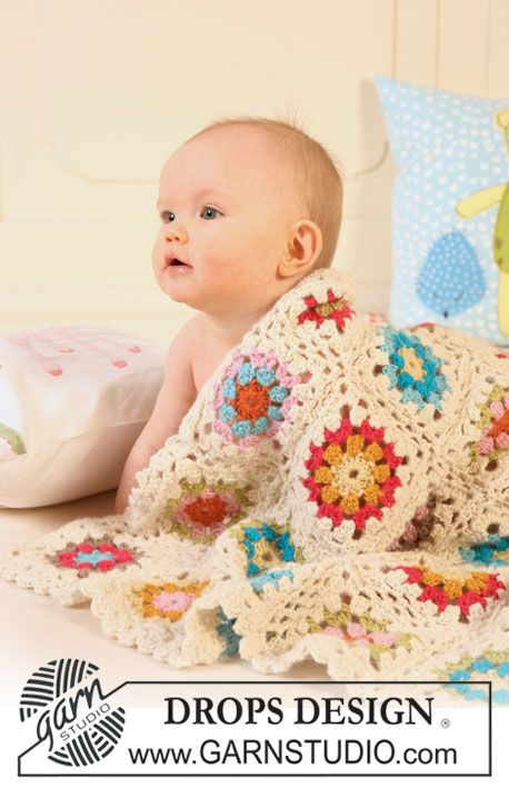 "Granny's Little Girl - Colorful crochet DROPS blanket in 2 strands ""Alpaca"". - Free pattern by DROPS Design"