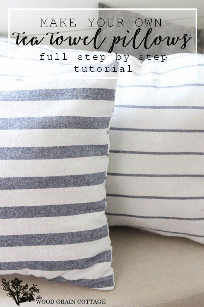 Use kitchen tea towels to make your own pillows! Full tutorial by The Wood Grain Cottage