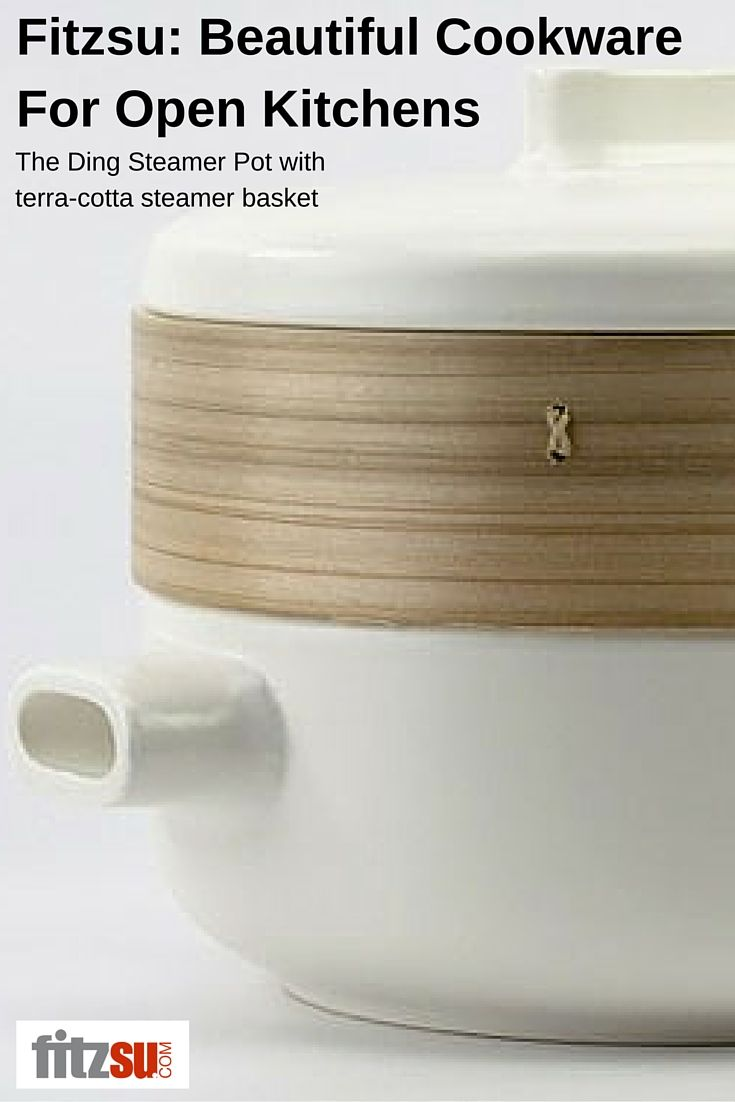 Ceramic cookware is hot! This modern steamer pot with a bamboo and terra-cotta steamer basket is meant to last. Minimal and sleek, this beauty from http://www.fitzsu.com/ding-steamer-pot.html cooks right on your stovetop.