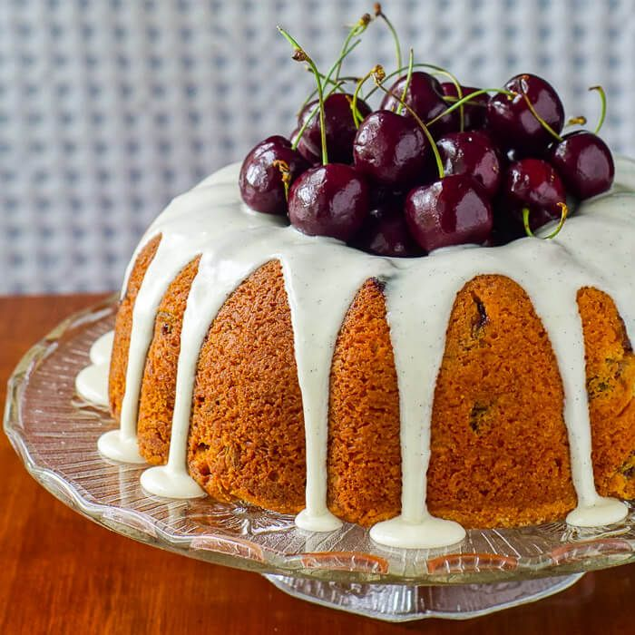 Cherry Cake - a moist pound cake based upon a favourite Christmas tradition but using fresh (or frozen) sweet cherries instead of glacé fruit.