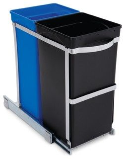 35 Litre Under Counter Pull-Out Recycler, Commercial Grade - modern - kitchen trash cans - by simplehuman