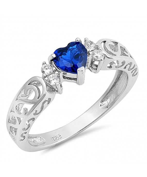 Heart Blue Sapphire CZ Promise Ring New .925 Sterling Silver Band Sizes 5-10