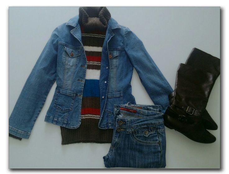 Denim jacket, jeans, brown poloneck sweater, brown boots   #ootd #fashion #whatiwore #fashionidea #winterfashion #casualwear #denimondenim #dailyfashion #dailyoutfitinspiration