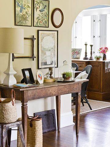 Decor: Entry Tables, Decor Ideas, Art Perfect, Consoles Tables, Empty Frames, Hall Tables, Fleas Marketing, Tables Arrangements, Front Hall