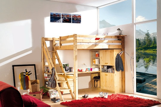 17 best images about lit on pinterest coupe lit mezzanine and pallet bunk beds. Black Bedroom Furniture Sets. Home Design Ideas