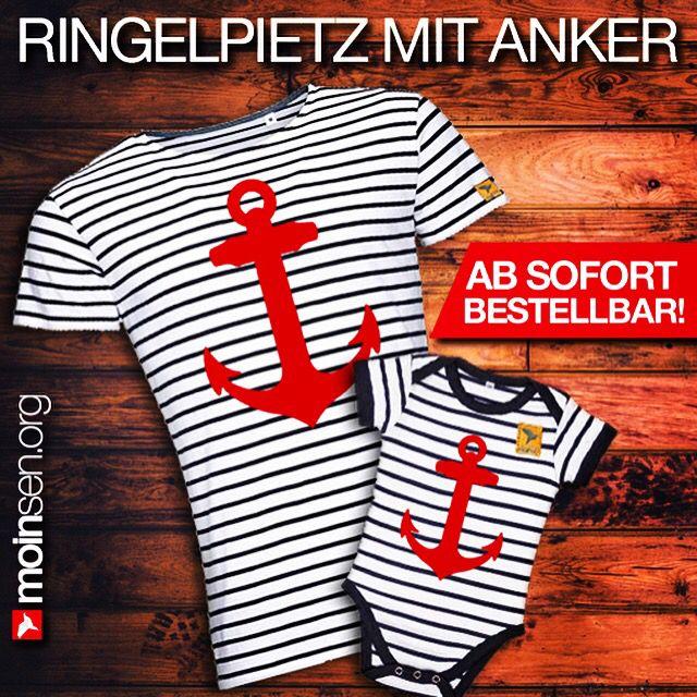 """#moinsen """"Ringelpietz mit Anker"""" Shirts für Deerns, Jungs, Kinners und für die ganz Lütten als Body ⚓️ Zu haben auf www.moinsen.org"""