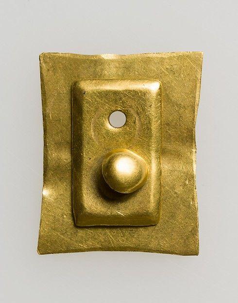 Gold Belt Mount with Rivet  Date:700s Culture:Avar Medium:Gold-The treasure…