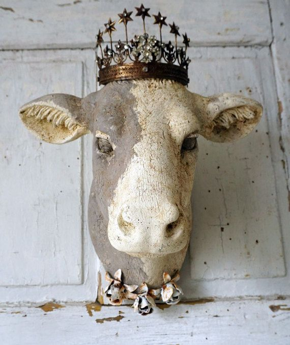 French cow head wall mount faux hand painted white w/ taupe-gray rustic farmhouse mounted heifer taxidermy hanging decor anita spero design