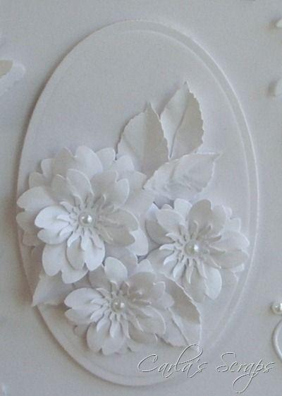 handmade card ... white on white:  Cherry Blossom Punch, Memory Box Twirling Vine Frame, Memory Box Debutante Frame, MS BFly, Oval Spellbinders, Scrapadoodle, Carla's Scraps (1)  ... beautiful!!!