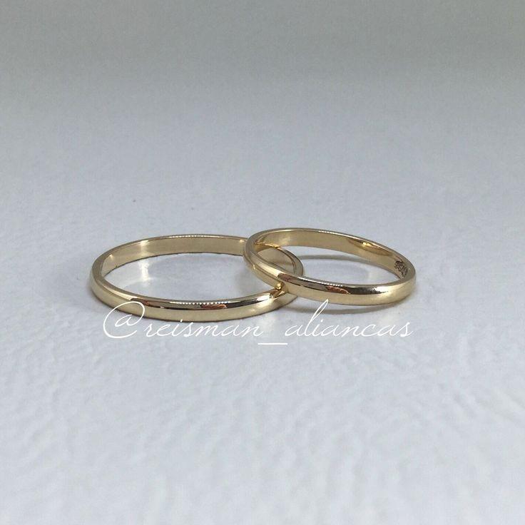 Alianças Finas Clássicas Tradicional ♥ Casamento e Noivado em Ouro 18K - Reisman…