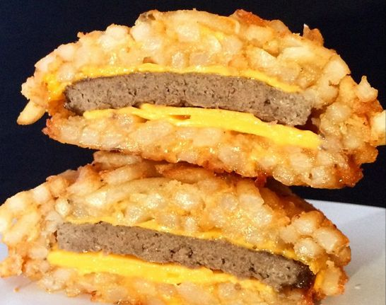Introducing the French Fry Burger...welcome to the good life.